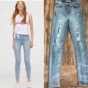 Levi's mile high skinny light wash high rise jeans